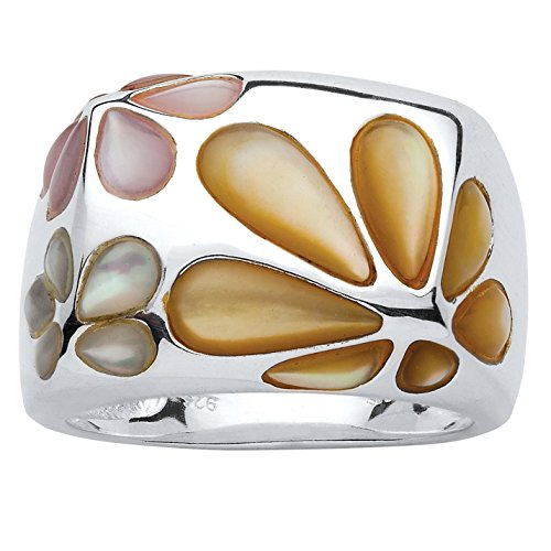 (Yellow and Pink Mother-Of-Pearl .925 Sterling Silver Daisy Ring)