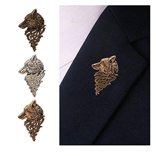 alized Wolf Head Brooch Upscale Fashion Unisex Animal Suit Collar Pin Buckle Broche Wolfhead Brooches Pins (Antique Silver) ()