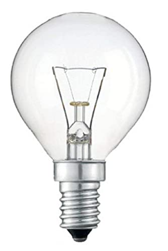 10 x 40W Classic Mini Globes Clear Round Light Bulbs, SES E14 Small Screw, Golf Ball Incandescent Lamps, 390 lm, Mains 240V