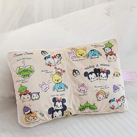 KWELJW Net Red Japanese Corner Biological Book Nap Pillow Animation Surrounding Cushion Plush Toy Doll Gift Pink Mickey