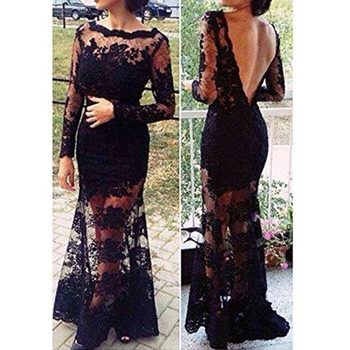 568360cae Chinatera Femme Sexy Robe Longue en Dentelle Crochet Dos Nu pour Soirée  Cocktail & Club & Party & Bar