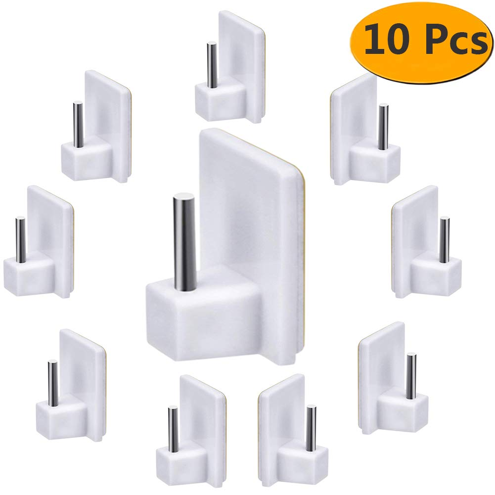 FOLAI Self Adhesive Hooks Plastic Sticky End Hook for Net Curtain Rods, White,10 packs