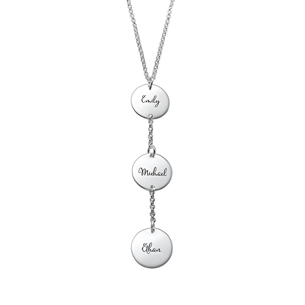 Customized Y Necklace with Three Engraved Discs in Sterling Silver-Personalized Jewelry Summer Gift