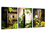 "Kitchen Wall Art Canvas Prints Grapes Wine Bottle Oak Cask Pictures Artwork - 12"" by 16"" 3 Pieces Painting Canvas Art for Dining Room Decoration"