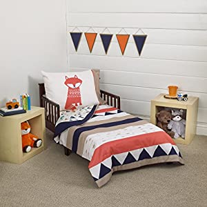 Carter's Aztec 4 Piece Toddler Bedding Set, Navy, Cream, Orange, Beige 17