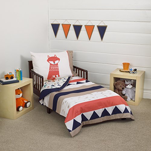 Carter's Aztec 4 Piece Toddler Bedding Set, Navy, Cream, Orange, Beige