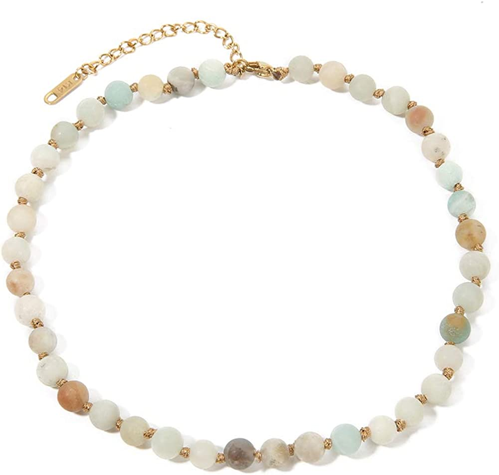 BALIBALI Semi Precious Stone Beaded Choker Necklace 14K Gold Plated Natural Stone Double Strand Necklace Layered Short Necklaces