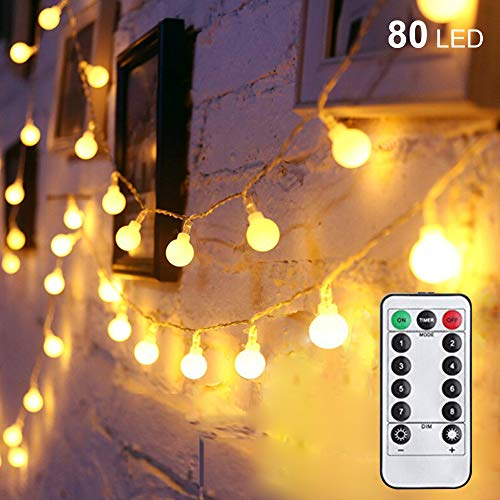 Twinkle Star 80LED 34FT Ball String Lights Battery Operated, Fairy String Lights with Remote Control, Waterproof for Indoor Outdoor Garden Wedding Party Christmas Decoration, Warm White