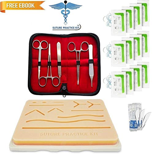 Suture Practice Kit w Suturing Guide E-Book, 3rd Generation Pad, Tools Suture Needles by Medical Professionals. for Residents Med Dental Vet School Students, Knot Tying Surgical Techniques by Suture Practice Kit