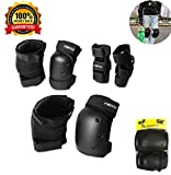 YiCol Adjustable Sports Protective Gear Set Safety Pad Safeguard (6Pieces),for Inline Skating Bike Skateboard Skateboard and Other Extreme Sports Activities.(Black, Medium(for 40kg-60kg))