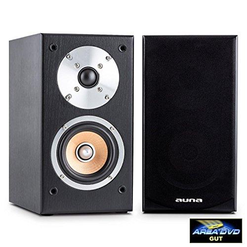auna – Line 501 BS-BK, boekenplankluidsprekers, luidsprekerboxen, hifi-boxen, luidsprekerpaar, 2-wegsysteem, 10 cm (4…