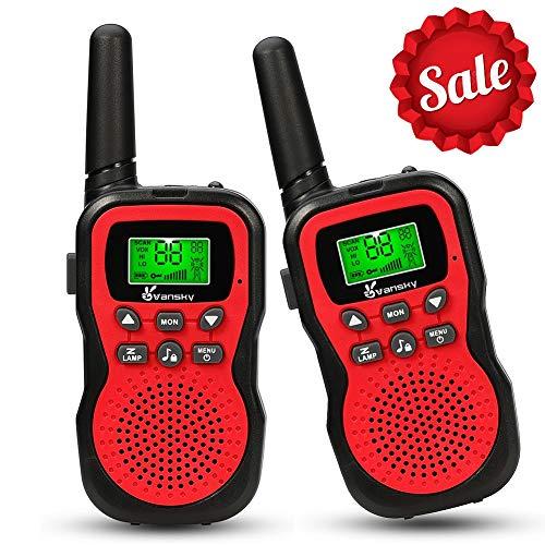 Walkie Talkies for Kids, Vansky 22 Channel 2 Way Radio Long Range Built-In Flashlight Boys Girls Toy Best Gifts Games, Outdoor Adventure Uhf Interphone (Red, 2 Pack)