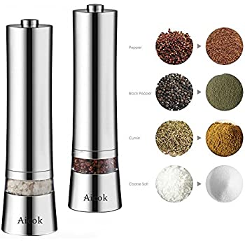 Aicok Pepper Grinder, Pink Salt Mill, Stainless Steel Salt and Pepper Mill Set, Electronic Salt Grinder with Adjustable Ceramic Coarseness, 0.6oz Capacity, Elegant Silver