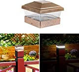 GPCT [Solar Powered] 5'' x 5'' Post Cap LED Light. Easy Installation, Durable [Water Resistant] Lighting, 10000 Hours of Life- Yard, Garden, Pathway, Patio, Deck, Dock, Fence, Landscape Lamp [Copper]