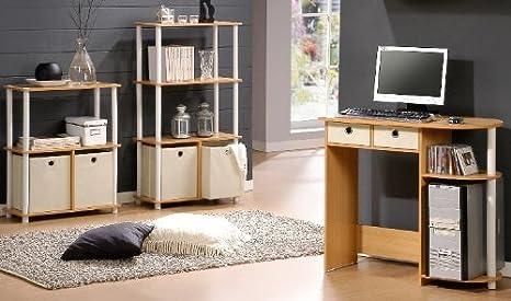 Furinno Go Green 4-Tier Multipurpose Storage Shelf with Bins Dark Cherry Set of 2