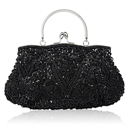 Black Evening Handbag Clutch Purse - EROUGE Beaded Sequin Design Flower Evening Purse Large Clutch Bag (Black)
