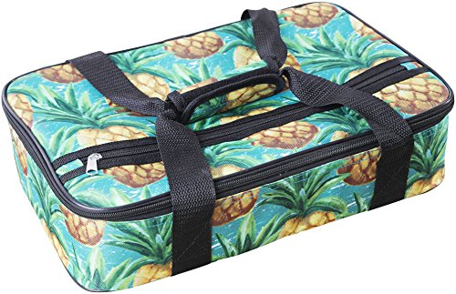 Palais Dinnerware Insulated Casserole Carrier - With Zip Closure - Attractive Design, with Strap and Side Pocket (Pineapple on Aqua)