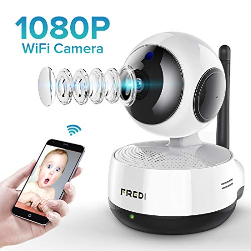 FREDI Wireless 1080P IP Baby Pet Monitor Camera WiFi Camera with Two-Way Function,Infrared Night Vision,Pan Tilt,P2P WPS Ir-Cut Nanny IP Camera Motion Detection Support 128GB sd Card(not Include)