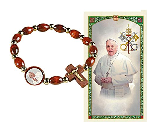 Pope Francis Rosary Wood Bead Bracelet Wrist Chaplet Rosary Blessed Pray for Me Pope Francis Holy Card ()