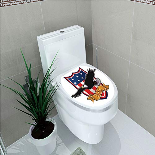 - Toilet Applique,American,Flying Eagle with USA Flag Armor Design Shape Liberty Wings in Sky Ilustration,Red Blue Black,Custom Sticker,W11.8