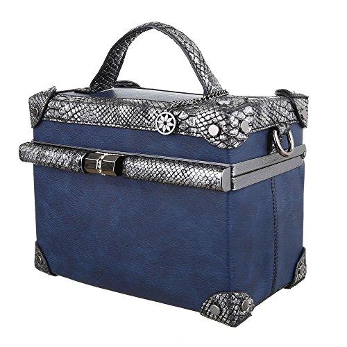 Handtasche Quadratische Koffertasche Schwarz Blau mEbFIXco
