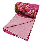 Pink Kantha Style Ethnic Gudri Floral Pattern Cotton Quilt Twin Size Bed Spread 88 X 55