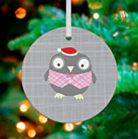 "Oopsy Daisy Keepsake Ornament, Happy Owl/Gray/Pink, 3""x 3"""