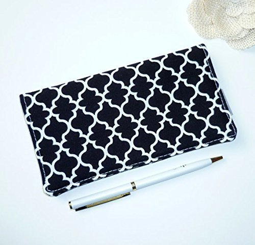 Metallic Checkbook Wallet - Checkbook Cover. Wallet. Receipt Holder - Black Quatrefoil