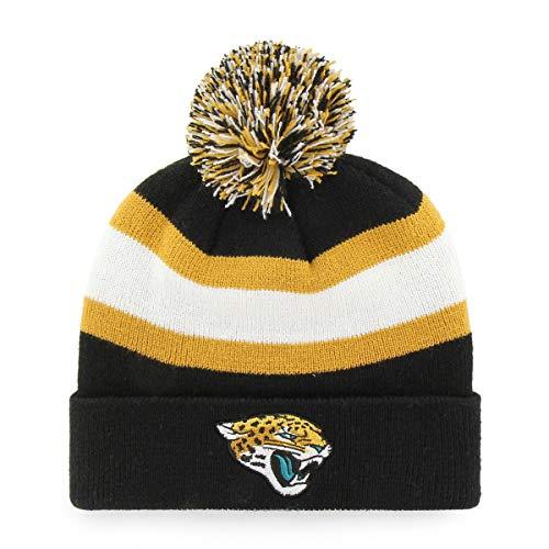 NFL Jacksonville Jaguars Rush Down OTS Cuff Knit Cap with Pom, Black, One Size