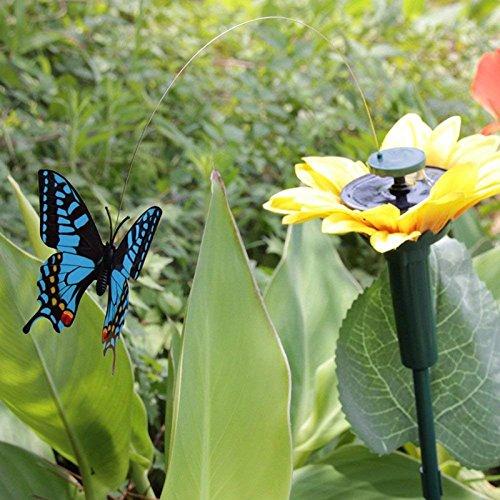 Wuudi solaire Tournesol Flying Papillon jouet solaire//alimentation par batterie Soleil Fleur Papillon Ornement jardin Yard Piquet Couleur al/éatoire