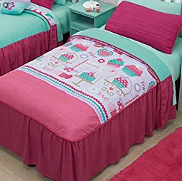 CUPCAKE (YUMMY) GIRLS REVERSIBLE BEDSPREAD SET 3 PCS VERY GOOD QUALITY TWIN SIZE