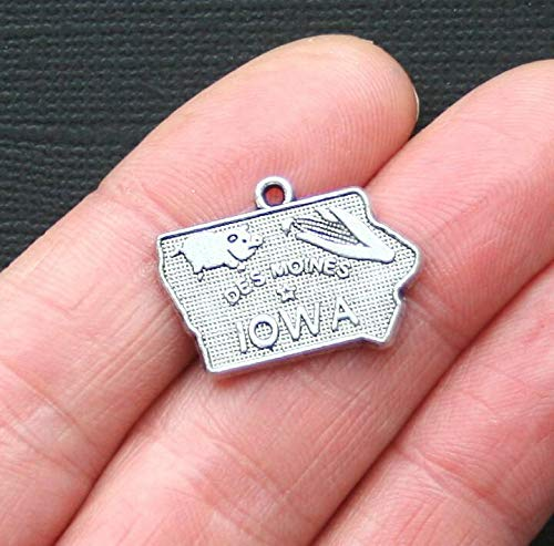 (Sale 8 Iowa State Charms Antique Silver Tone )