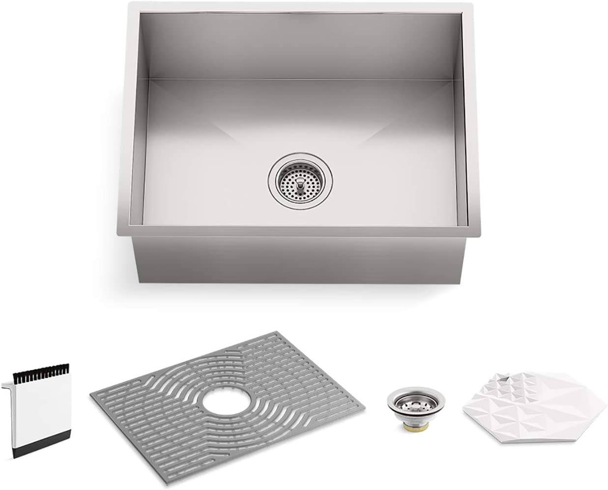 Kohler K-20023-PC-NA STERLING Ludington 24 Under-Mount Single-Bowl Kitchen Sink with Accessories, Medium Basin, Stainless Steel