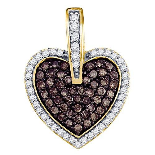 Sonia Jewels 10k Yellow Gold Round Chocolate Brown Diamond Heart Love Pendant (1/2 Cttw)