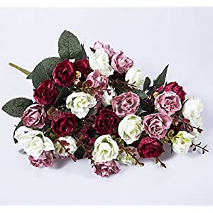 Hibery 2 Pcs Artificial Rose Flowers Fake Red Roses for Wedding Party Home Decor 2