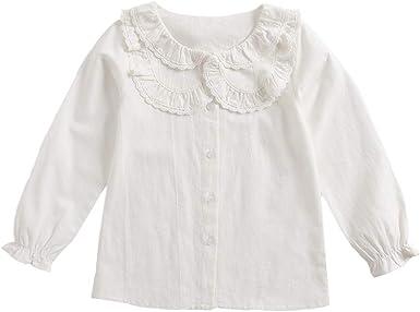 Camisa de Manga Larga para niñas Camisa Blanca de Encaje con Cuello de muñeca para bebés Camisa con Volantes: Amazon.es: Ropa y accesorios