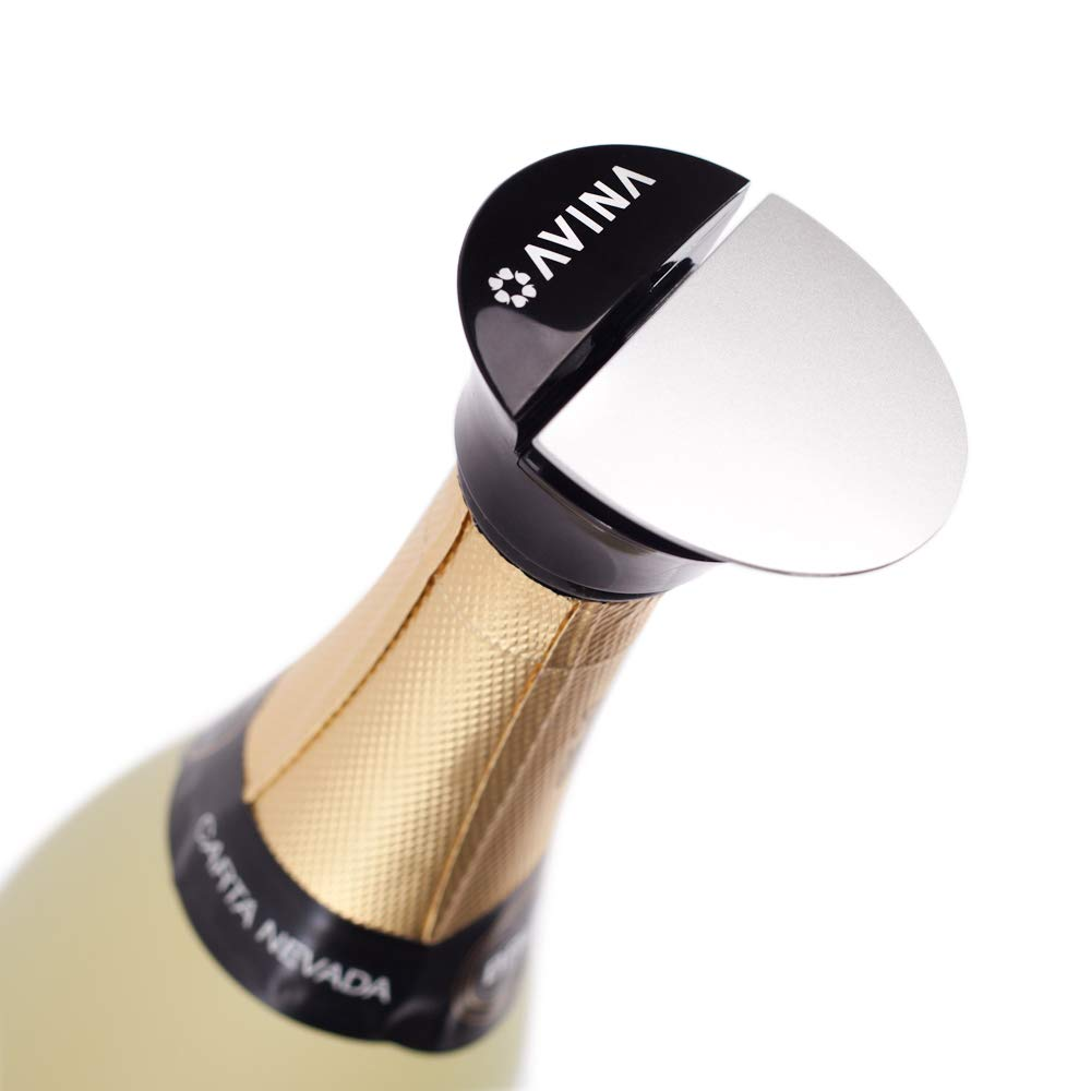 Champagne Stopper – Push and Lock Resealable Leak-Proof Cap For Prosecco, Sparkling & Still Wine, Keeps The Fizz In Your Bubbles – No Leaks, No Spills, No Waste with Open Bottles AVINA Wine Accessories AV1609