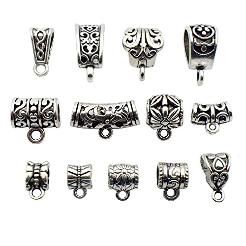 - 100g (about 75pcs) Mixed Antique Tibetan Silver Bail Tube Beads,Spacer Bead,Bail beads,Bead Hanger Fit Charm European Bracelet Pendant M27