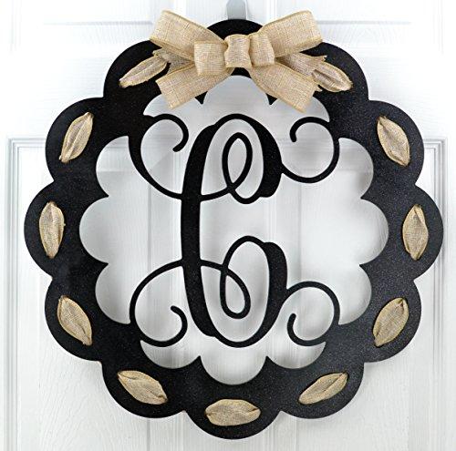 Christmas Bow Wreath Hanger - Letter C - Monogrammed Door Hanger   Mom Gift   Black and Burlap Everyday Year Letter Door Hanger