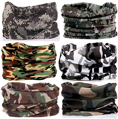 KALILY 6PCS Headband Bandana - Versatile Sports CAMO Headwear -Multifunctional Seamless Neck Gaiter, Headwrap, Balaclava, Helmet Liner, Face Mask for Camping, Running, Cycling, Fishing etc