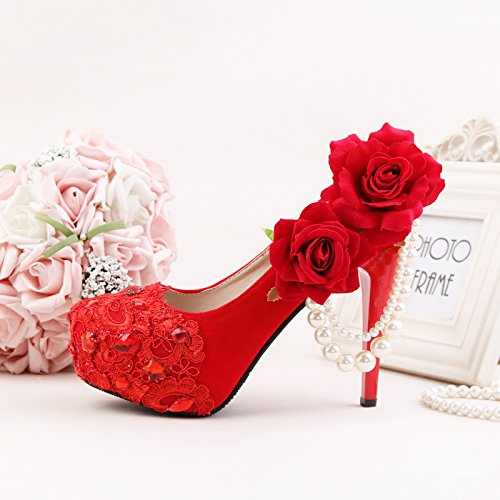 Toasting Flower Fine 4 Wedding Bride'S Red Hair Dress Wedding Dress Heel Peony Formal Sandals Women'S Prom High Rhinestone Heels 10Cm VIVIOO xwZn1FqZ
