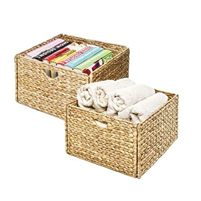 """Seville Classics Foldable Handwoven Water Hyacinth Cube Storage Basket Bin, Rectangular (2-Pack) - Dimensions: 13.25"""" x 13.25"""" x 8"""" H (each basket) 2 pack of matching storage baskets Baskets fold flat for easy storage when not in use - living-room-decor, living-room, baskets-storage - 518%2BouubZ2L. SS400  -"""