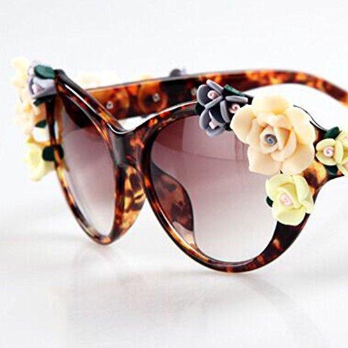 19a41e3367 Providethebest Flor Decoración muchacha de las mujeres de forma redonda de  plástico marco de las gafas de sol protección UV400 ...