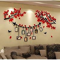 Alicemall Adesivi Murali Adesivo da Parete Wall Sticker in Acrilico Rimovibile a Forma di Albero con Rami Incurvati e Cornici Porta Foto
