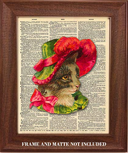 (Fancy Cat Wearing Red Bonnet Upcycled Dictionary Art - 8 x 10 Unframed Print - Unique Gift for Kitten and Feline Lovers - Home, Office, Pet Store Wall)