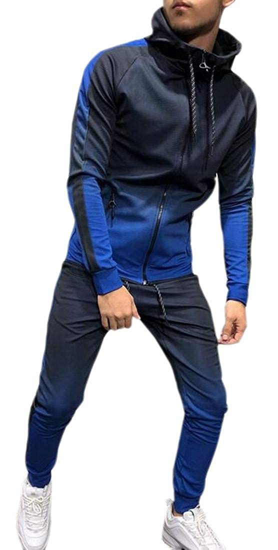 WSPLYSPJY Mens Ombre Hooded Slim Fit Casual Pocketed Zip Front Lounge Tracksuit Sets