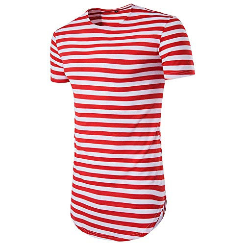 (LIWEIKE Men's Striped Hip Hop Basic Longline Crewneck T-Shirt (X-Large, Red&White))