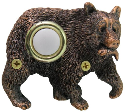 Waterwood Bronze Plated Bear with Fish Doorbell