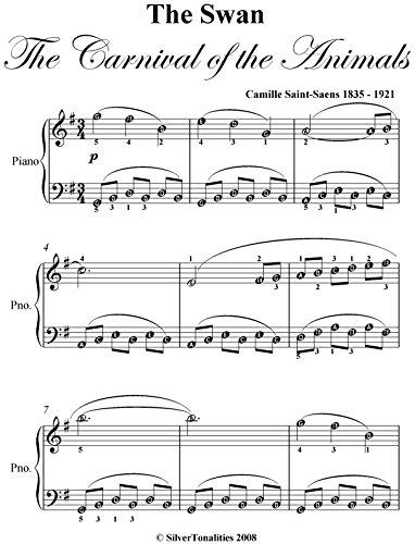 Swan Carnival of the Animals Saint Saens Easy Piano Sheet