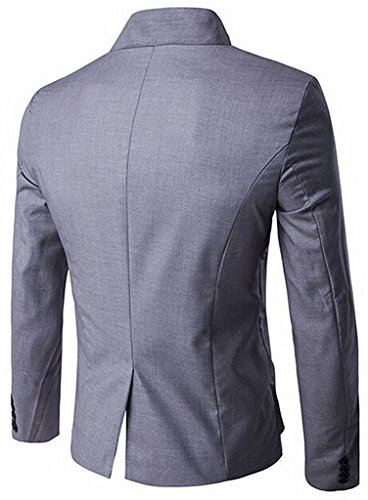 Yisqzjzj Men's Slim Fit Stand Collar Irregular Suit Blazer Jacket Light Grey M Light GrayUS M-(China L)